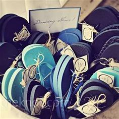 navy and aqua flip flop favors