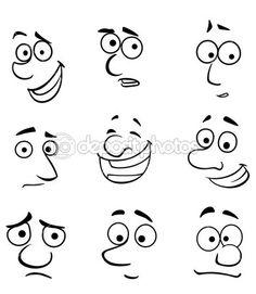 Illustration about Cartoon faces set with emotions for comics design. Illustration of joyful, funny, cartoon - 33281289 Funny Cartoon Faces, Drawing Cartoon Faces, Cartoon Eyes, Angry Cartoon, Funny Cartoons, Girl Cartoon, Cartoon Art, Cartoon Characters, Stone Painting