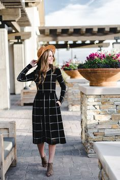 The Grid Print Midi Dress   S-XL   2 Colors