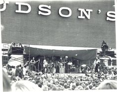 Bob Seger playing at the Oakland Mall grand opening in 1968. At the time, the crowd of 20,000 was the largest Seger & his band had played for. - image via Old Detroit fb webpage