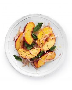 peaches, basil, red onion