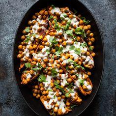 Tandoori Chickpea Stuffed Sweet Potatoes with Tahini Lime Drizzle