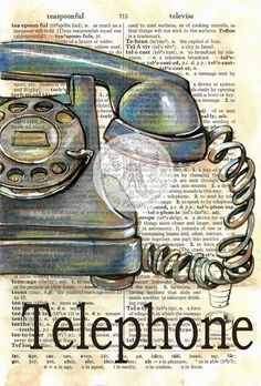 Druck: Alte Telefon Mischtechnik Zeichnung auf notleidende, Wörterbuch-Seite