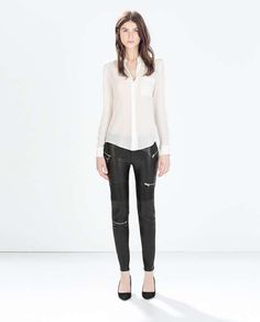 Zara Faux Leather Biker Trousers