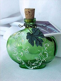 Handpainted Emerald Glass Magic  Bottle for by AUniqueRemembrance,