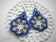 Earrings Light NavyEcru tatted lace  Sapphire  by Zelgulab on Etsy, $20.00