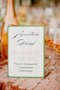 Blushing Bride Wedding Signature drink sign. Green, pink and cream with striping detail. Peach Schnapps, Champagne, Grenadine signature drink. Ashley Gain Featured:: Arizona Foothills Magazine Phoenician Photoshoot