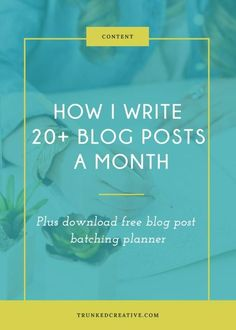 Write 20 Blog Post a Month