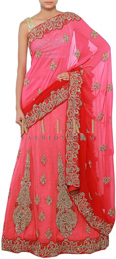 Buy Online from the link below. We ship worldwide (Free Shipping over US$100) http://www.kalkifashion.com/half-and-half-lehenga-saree-in-pink-and-red-enhanced-in-zari-and-zardosi-embroidery-only-on-kalki.html