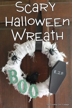 "Love this wreath! Would be cute with black tulle, white ghosts, and orange letters for ""BOO"""