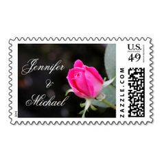 Personalized Wedding Stamp, Single Pink Rose Bloom, Customize with Bride & Groom's Names