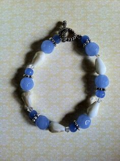 Ivory & pale blue Swarovski crystal bracelet with silver accents by Acacia Bella on Etsy, $28.00