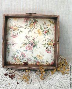 Купить Поднос Полевые цветы в стиле кантри - разноцветный, полевые цветы, поднос для кухни, подносик
