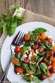 Grilled Tomato Salad With Feta and Basil - Sign up for easy, healthy recipes at http://eepurl.com/bgGhFT