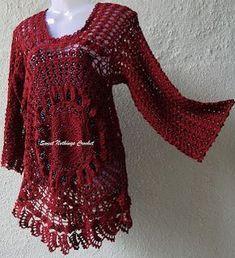 free crochet top pattern, free crochet motif top pattern