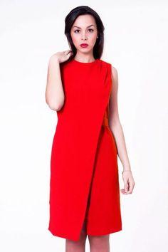 Vestido rojo de corte cruzado con cinturon #invitadasboda #vestidsocortos #vestidosfiesta #nochevieja  http://www.apparentia.com/mujer/vestidos/cortos/ficha/1597/vestido-rojo-cruzado/