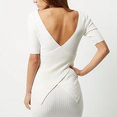 Cream wrap back top - knitted tops - knitwear - women