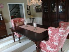 wingback chairs in dining room English Cranberry Toile Dining Room