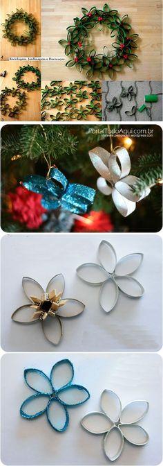 Enfeites natalinos que você vai poder fazer ai na sua casa, junto com as crianças e usando material reciclável, tenho certeza que vocês vão amar.