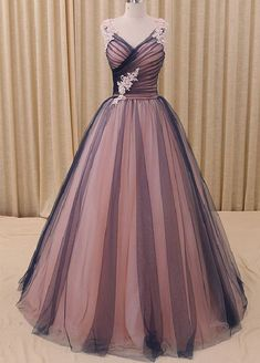 Charming Prom Dress,Tulle Prom Gown,Appliques Prom Dress,A-Line Prom Gown 824