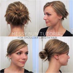 Top 25 Messy Hair Bun Tutorials Perfect For Those Lazy Mornings - Shoulder Length Hair Easy Messy Hairstyles, Hairstyles With Bangs, Girl Hairstyles, Wedding Hairstyles, Bridesmaid Hairstyles, Homecoming Hairstyles, Indian Hairstyles, Haircuts, Nutrition Education