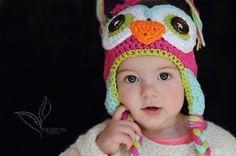 crochet owl  hat, owl hat, crochet kids hat, custom colors. $24.00, via Etsy.    www.etsy.com/shop/violetandsassafras