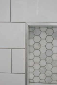 shower design with subway tile and marble tile niche - the ...