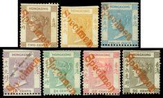 """Hong Kong, 1862, Queen Victoria, 2¢-96¢ complete, diagonal handstruck """"Specimen"""" overprints in red,"""