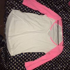 Pink VS baseball tee Neon pink/white small Pink VS tee. No damages. Much use in it left! Can't fit. PINK Victoria's Secret Tops Tees - Short Sleeve