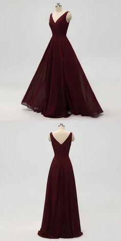 A-line V-neck Dark Red Chiffon Bridesmaid Dresses With Pleats, BD0557 #bridesmaids #bridesmaiddress #bridesmaiddresses #dressesformaidofhonor #weddingparty #2020bridesmaiddresses
