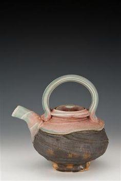 Josh DeWeese tea pot, stoneware, salt-soda fired