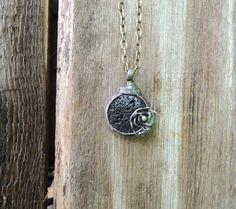 pendant necklace lava stone stone pedant locket by MARIAELA, $35.00