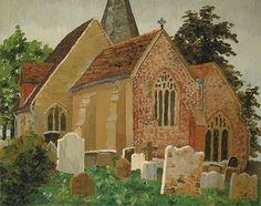 Herstmonceux Church, Hailsham, East Sussex by Cedric Lockwood Morris Date painted: 1928 Watercolor Landscape, Landscape Art, Landscape Paintings, Landscapes, East Sussex, Spa Art, Morris, Building Art, Art Uk