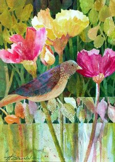 beautiful bird amidst some gorgeous spring flowers watermedia on paper by Helen Gwinn colorful modern art painting yellow pink blue green natura floral petals dots Pink Blue, Blue Green, Yellow, Modern Art Paintings, Beautiful Birds, Spring Flowers, Floral, Dots, Colorful