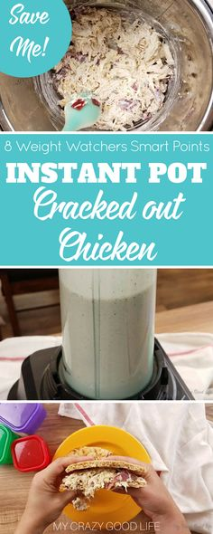 This Healthier Cracked Out chicken is a great recipe that is fast, healthy, and easy to make. The whole family will love Instant Pot Cracked out Chicken! Weight Watchers Cracked Out Chicken | Weight Watchers Crack Chicken | Weight Watchers Instant Pot Recipe