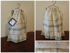 Green and cream plaid pillowcase dress by VintageSkys on Etsy, $15.00