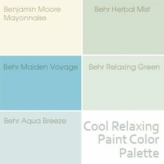 Cool relaxing paint color palette, see it in action