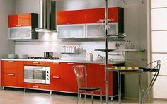 Kitchen: Modern Kitchen Design With Red Color Cast. Country Kitchen Design, Open Kitchen Designs As Well As Kitchen Design White Cabinets. I...