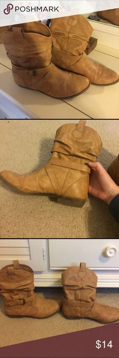 Women's Booties Used, but still in good condition, women's booties. faux leather, rubber soles, with a slight heel. Super stylish bootie for fall! Old Navy Shoes Ankle Boots & Booties