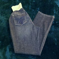 Maternity Boot Cut Jeans Gently used. Great pair of maternity boot cut jeans with design on back pockets.   Accepting reasonable offers. Sorry, no trades. Indigo Blue Jeans Boot Cut