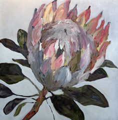 Protea - Oil on canvas painting Art Floral, Abstract Flower Art, Oil Painting Abstract, Painting & Drawing, Painting Clouds, Painting Canvas, Acrylic Paintings, Art Paintings, Protea Art