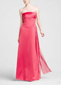 satin slim gown has a stylish ruched bodice and a chiffon pleated side drape over the tummy area giving the dress a flattering look. The drape hangs down the side of the dress adding drama to the style. This look is young and fresh and has a great price. Velvet Evening Gown, Evening Gowns, Velvet Gown, Trumpet Dress, One Shoulder Gown, Coral, Satin Gown, Davids Bridal, Fitted Bodice
