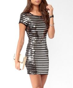 Sequined Stripes Bodycon Dress (Black/SIlver). Forever 21. $24.80