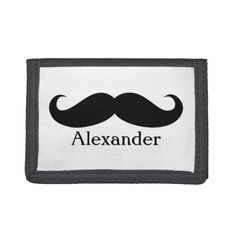 Funny Personalized Gentleman's Mustache Tri-fold Wallet - tap to personalize and get yours School Readiness, Credit Card Wallet, Valentine Day Gifts, Valentines, Mustache, Leather Wallet, Gentleman, Tri Fold, Funny
