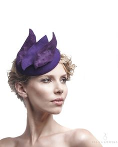 Purple Headpiece on a Headband - Ladies-Hats - Easy to Wear Hats - Pillbox Fascinator - Cocktail Hair Piece -Women's Accessories - Ella Gajewska