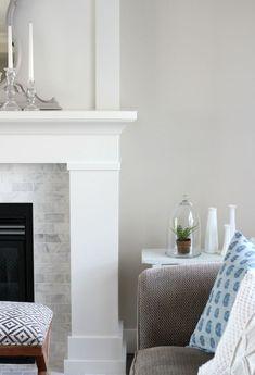 Benjamin Moore White Dove Fireplace Mantel (OC-17) - Satori Design for Living #paintedfireplace #shakerstylefireplace