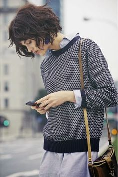 Adorable bob hair.  brave enough?  Stylish Blue Sweater