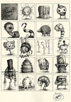 """Series of Sketches made with ballpoint pen on paper.""""Little and quick Concepts… Monster Sketch, Doodle Monster, Monster Drawing, Monster Art, Creepy Drawings, Creepy Art, Cartoon Drawings, Cartoon Art, Art Drawings"""