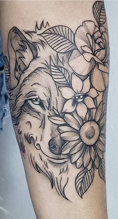 60 Wolf Tattoos to Get You Inspired – Photos and Tattoos Tatuajes Tattoos, Leg Tattoos, Flower Tattoos, Sleeve Tattoos, Female Tattoo Sleeve, Clock Tattoo Design, Tattoo Designs, Wolf Tattoo Design, Wolf Tattoos For Women