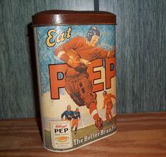 PEP Bran Flakes Tin, Cereal by Kellogg's Nostalgic Tin Vintage Football Theme.